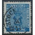 SWEDEN - 1858 12öre dark ultramarine-blue Coat of Arms, used – Facit # 9f1
