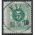 SWEDEN - 1872 5öre green Ring Type, perf. 14, used – Facit # 19f