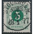 SWEDEN - 1872 5öre deep green Ring Type, perf. 14, used – Facit # 19g