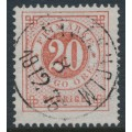 SWEDEN - 1872 20öre dull red Ring Type, perf. 14, used – Facit # 22g