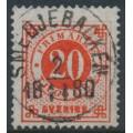 SWEDEN - 1877 20öre bright orange-red Ring Type, perf. 13, used – Facit # 33c