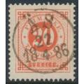 SWEDEN - 1877 20öre orange-red Ring Type, perf. 13, used – Facit # 33f
