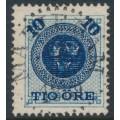 SWEDEN - 1889 10öre dark blue on 12öre blue Ring Type, perf. 13, used – Facit # 50a