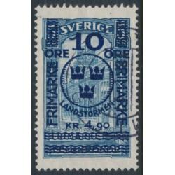 SWEDEN - 1916 10öre + 4.90Kr. on 5Kr. blue GPO Landstorm II overprint, used – Facit # 125