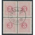 SWEDEN - 1874 3öre violet-carmine Postage Due (Lösen), perf. 14, block of 4, used – Facit # L2b