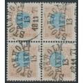 SWEDEN - 1877 1 Riksdaler blue/brown Ring Type, perf. 13, block of 4, used – Facit # 37