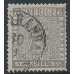 SWEDEN - 1855 6Skilling grey Coat of Arms, used – Facit # 3a