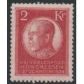 SWEDEN - 1924 2Kr red World Postal Congress, MH – Facit # 209