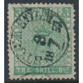 SWEDEN - 1855 3Skilling pale bluish green Coat of Arms, used – Facit # 1a
