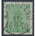 SWEDEN - 1858 5öre green Coat of Arms, used – Facit # 7b2