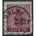 SWEDEN - 1858 50öre very deep violet-carmine Coat of Arms, used – Facit # 12a