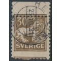 SWEDEN - 1920 30öre brown Lion, perf. 9¾ on 4-sides, misplaced perfs, used – Facit # 148C