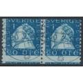 SWEDEN - 1920 20öre blue Gustav II Adolf, perf. 9¾ on 2-sides, mis-cut coil, used – Facit # 151Abz