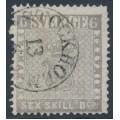 SWEDEN - 1855 6Skilling light grey Coat of Arms, used – Facit # 3b
