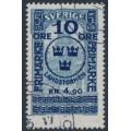 SWEDEN - 1916 10öre + 4.90Kr on 5Kr blue GPO Landstorm II overprint, used – Facit # 125