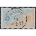 SWEDEN - 1874 1Kr pale blue/yellowish brown Official (Tjänstemärke), perf. 14, used – Facit # TJ10b
