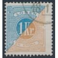 SWEDEN - 1877 1Kr blue/brown Postage Due (Lösen), perf. 13, 'broken frame' variety, used – Facit # L20v3