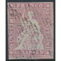 SWITZERLAND - 1857 15Rp pale rose Sitting Helvetia on very thin paper, used – Zumstein # 24F