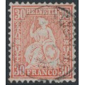 SWITZERLAND - 1862 30c pale vermillion Sitting Helvetia (Sitzende Helvetia), used – Zumstein # 33b