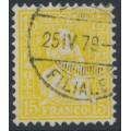 SWITZERLAND - 1875 15c deep yellow Sitting Helvetia (Sitzende Helvetia), used – Zumstein # 39a
