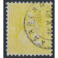 SWITZERLAND - 1875 15c pale yellow Sitting Helvetia (Sitzende Helvetia), used – Zumstein # 39b