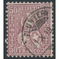 SWITZERLAND - 1867 50c red-lilac Sitting Helvetia (Sitzende Helvetia), used – Zumstein # 43b