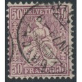 SWITZERLAND - 1867 50c deep reddish lilac Sitting Helvetia (Sitzende Helvetia), used – Zumstein # 43c