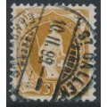 SWITZERLAND - 1891 3Fr. yellow-brown Helvetia, perf. 11¾:11¾ , oval watermark (Kz. I), used – Zum. # 72A