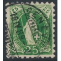 SWITZERLAND - 1888 25c green Helvetia, perf. 9¾:9¼, oval watermark (Kz. I), used – Zum. # 67Ba