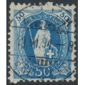 SWITZERLAND - 1882 50c blue Helvetia, perf. 11¾:11¾, oval watermark (Kz. I), used – Zum. # 70A