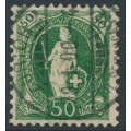 SWITZERLAND - 1899 50c green Helvetia, perf. 11½:11, oval watermark (Kz. II), used – Zum. # 74D