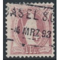SWITZERLAND - 1891 1Fr. brownish purple Helvetia, perf. 11½:11, oval watermark (Kz. I), used – Zum. # 71C