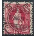 SWITZERLAND - 1903 1Fr. carmine Helvetia, perf. 11½:12, oval watermark (Kz. II), used – Zum. # 75E