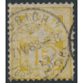 SWITZERLAND - 1882 15c yellow Cross & Numeral on white paper, used – Zumstein # 57a