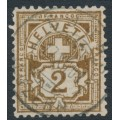 SWITZERLAND - 1894 2c dark olive-brown Cross & Numeral, 'white flaw on A', used – Zumstein # 58B.2.05