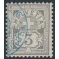 SWITZERLAND - 1883 3c grey Cross & Numeral, granite paper, oval watermark (Kz. I), used – Zumstein # 59A
