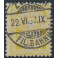 SWITZERLAND - 1882 15c lemon-yellow Cross & Numeral, granite paper, oval watermark (Kz. I), used – Zumstein # 63Ab
