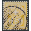 SWITZERLAND - 1885 15c orange-yellow Cross & Numeral, granite paper, oval watermark (Kz. I), used – Zumstein # 63Ac