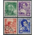 SWITZERLAND - 1936 Pro Juventute set of 4, used – Michel # 306-309