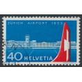 SWITZERLAND - 1953 40c red/blue Zürich Airport, used – Michel # 585