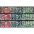 SWITZERLAND - 1938-1955 3Fr. to 10Fr. High Values sets of 3 on the three different papers, used – Michel # 216-218