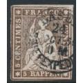 SWITZERLAND - 1858 5Rp brown Sitting Helvetia (late Bern printing), used – Zumstein # 22G