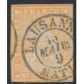 SWITZERLAND - 1857 20Rp orange Sitting Helvetia (late Bern printing), used – Zumstein # 25G