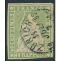SWITZERLAND - 1855 40Rp green Sitting Helvetia (early Bern printing, maroon thread), used – Zumstein # 26C