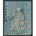 SWITZERLAND - 1854 10Rp blue Sitting Helvetia (early Bern printing), used – Zumstein # 23A