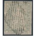 SWITZERLAND - 1855 1Fr. violet-grey Sitting Helvetia (early Bern printing, black thread), used – Zumstein # 27C