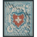 SWITZERLAND - 1851 5Rp blue/red Rayon I, 'broken left frame line', used – Zumstein # 17II.2.10