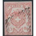 SWITZERLAND - 1852 15Rp red Rayon III, 'broken base of the numeral 5', used – Zumstein # 20.2.05