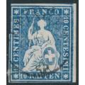 SWITZERLAND - 1859 10Rp blue Sitting Helvetia (late Bern printing), used – Zumstein # 23G