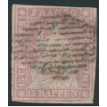 SWITZERLAND - 1855 15Rp rose Sitting Helvetia (early Bern printing), used – Zumstein # 24B